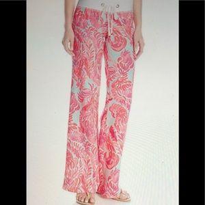 Lilly Pulitzer pink linen beach wide leg pant S